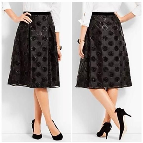 Talbots Dresses & Skirts - TALBOTS RSVP LUREX CLIP DOT FULL BLACK SKIRT SZ 2